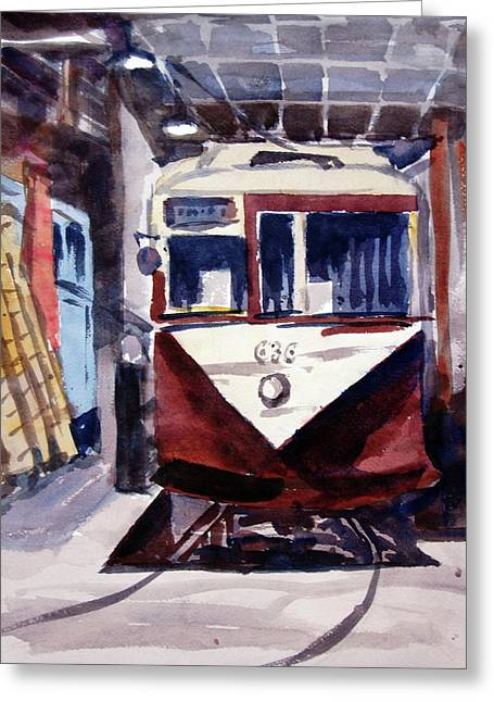 Trolley Maintenance Greeting Card by Ron Stephens