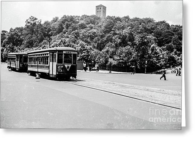 Greeting Card featuring the photograph Trolley With Cloisters by Cole Thompson