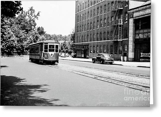Greeting Card featuring the photograph Trolley With Packard Building  by Cole Thompson