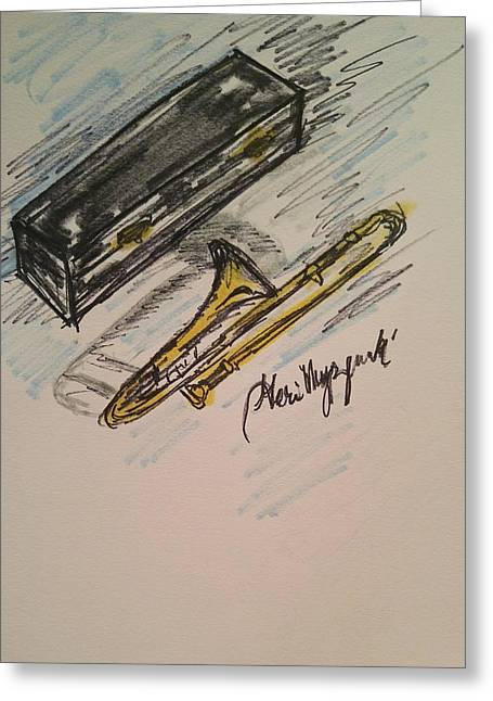 Trombone Greeting Card by Geraldine Myszenski