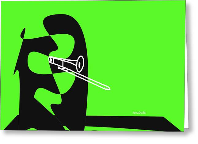 Trombone In Green Greeting Card