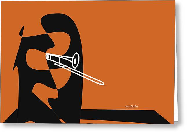 Trombone In Orange Greeting Card