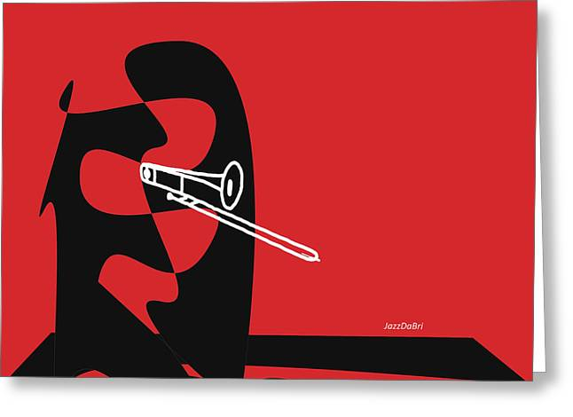 Trombone In Red Greeting Card