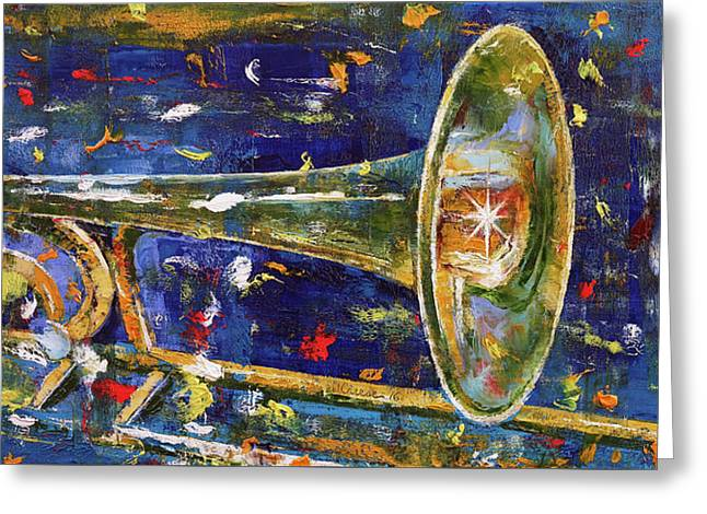 Trombone Greeting Card by Michael Creese