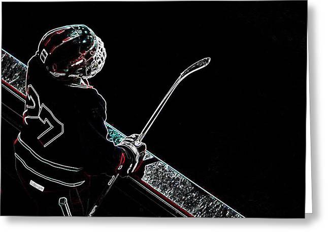 Tron Hockey - 1 Greeting Card by Tya Kottler