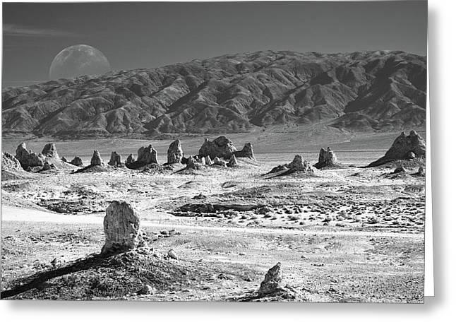 Trona Pinnacles With The Moon Greeting Card