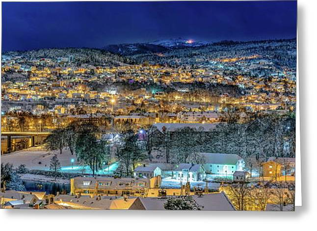 Trondheim Panorama In The Winter Time Greeting Card