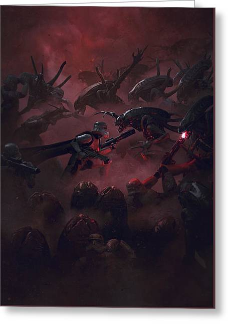 Troopers Vs Space Cockroaches 6 Greeting Card by Guillem H Pongiluppi
