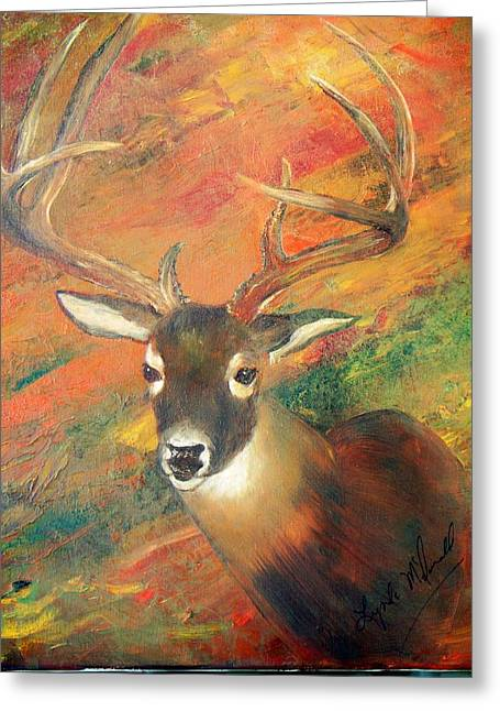 Trophy Deer Greeting Card by Lynda McDonald