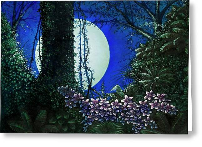 Greeting Card featuring the painting Tropic Moon by Michael Frank