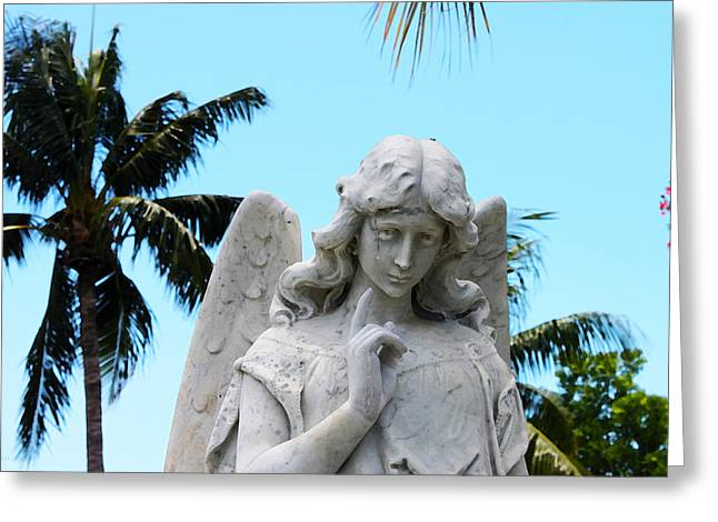 Tropical Angel With Tear Greeting Card