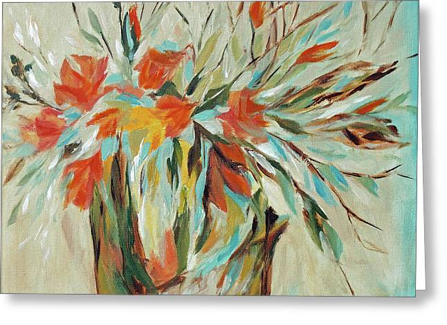 Greeting Card featuring the painting Tropical Arrangement by Joanne Smoley