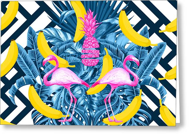 Tropical Banana Pink   Greeting Card by Mark Ashkenazi