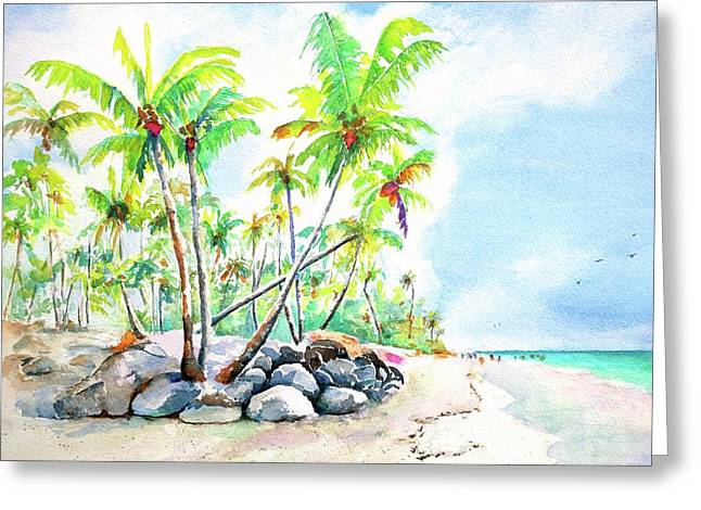 Greeting Card featuring the painting Tropical Bavaro Beach Punta Cana Dominican Republic by Carlin Blahnik CarlinArtWatercolor