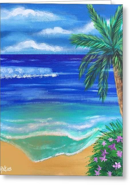 Tropical Beach Greeting Card by Diana Riukas