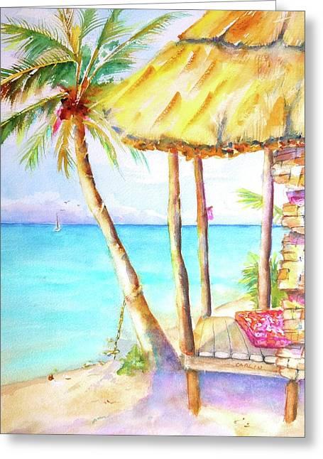 Tropical Beach Hut Watercolor Greeting Card