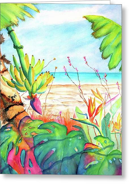Greeting Card featuring the painting Tropical Beach Plants Ocean Front by Carlin Blahnik CarlinArtWatercolor