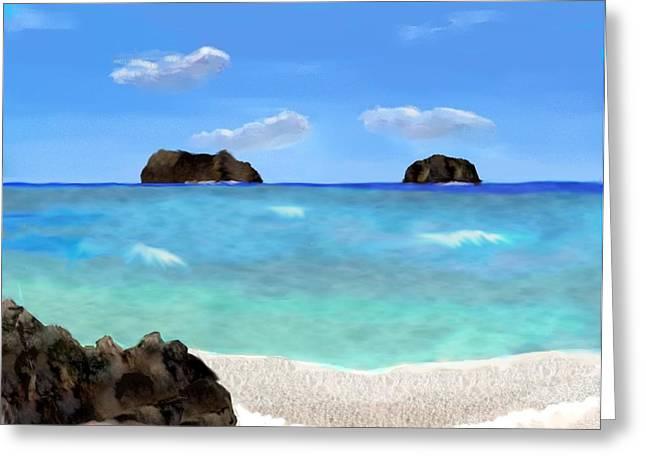 Tropical Beach Greeting Card by Tanya Van Gorder