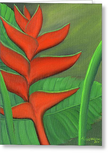 Tropical Beauty - Red And Green Heliconia Greeting Card by Maria Williams