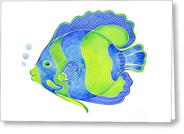Tropical Blue Angel Fish Greeting Card