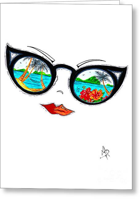 Tropical Cat Eyes Sunglass Reflection Aroon Melane 2015 Collection By Madart Greeting Card by Megan Duncanson