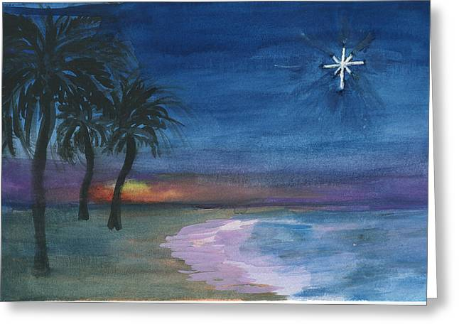 Greeting Card featuring the painting Tropical Christmas by Donna Walsh