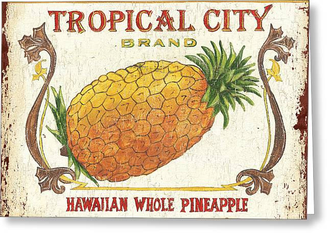 Tropical Fruit Greeting Cards - Tropical City Pineapple Greeting Card by Debbie DeWitt