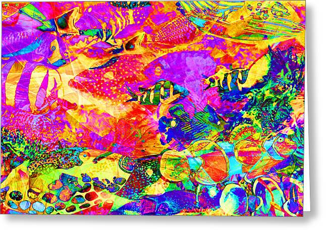 Tropical Coral Reef Fish In Abstract 20160923 Square Greeting Card by Wingsdomain Art and Photography