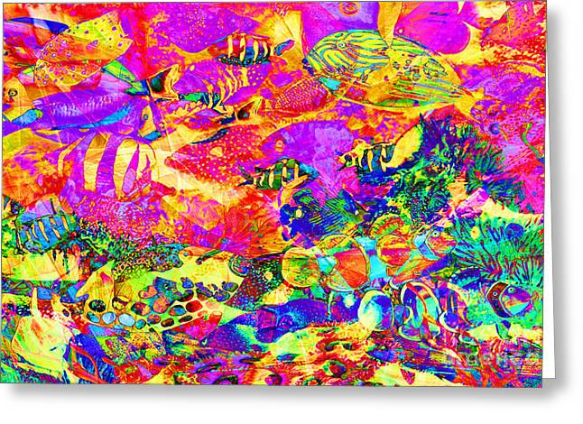 Tropical Coral Reef Fish In Abstract 20160923 Greeting Card by Wingsdomain Art and Photography