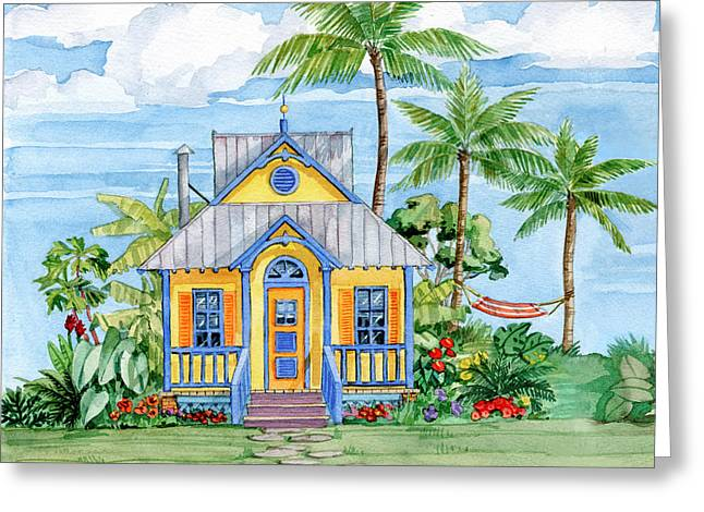 Tropical Cottage II Greeting Card