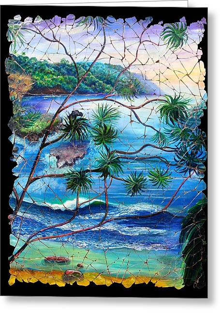 Tropical Cove  Fresco Triptych 2 Greeting Card