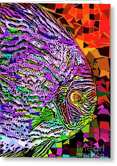 Greeting Card featuring the photograph Tropical Fish Discus In Abstract 20170325v3 by Wingsdomain Art and Photography