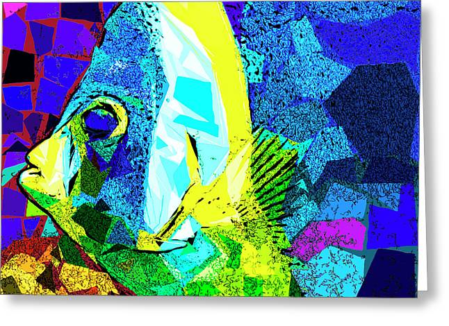 Greeting Card featuring the photograph Tropical Fish In Abstract 20170325v3 Square by Wingsdomain Art and Photography