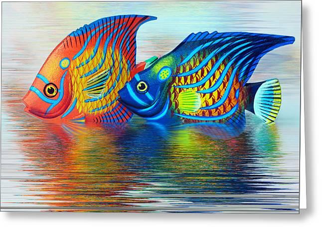 Tropical Fish Reflecting By Kaye Menner Greeting Card by Kaye Menner