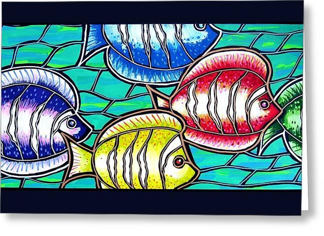 Tropical Fish Swim Greeting Card by Jim Harris
