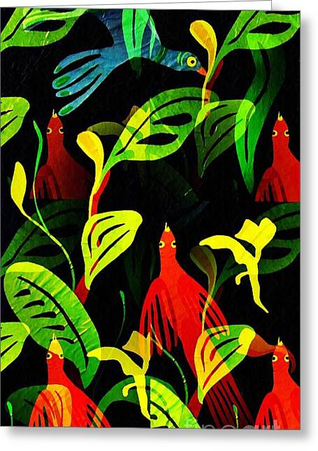 Tropical Flock Greeting Card