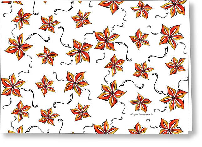 Tropical Floral Colorful Orange Star Pattern Fun And Unique By Megan Duncanson Greeting Card