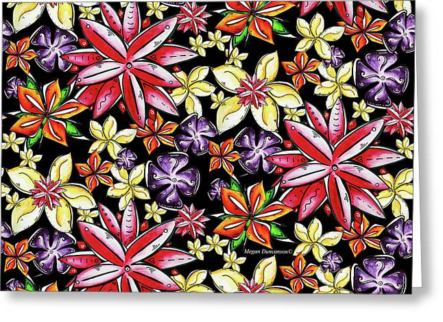 Tropical Floral Colorful Pattern Fun And Unique By Megan Duncanson Greeting Card by Megan Duncanson