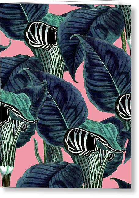 Tropical Flower Pattern Greeting Card