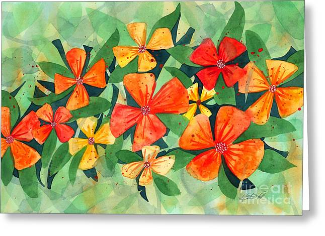 Tropical Flower Splash Greeting Card by Kristen Fox