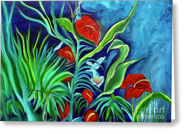 Tropical Flowers 1 Greeting Card