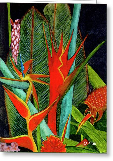 Tropical Flowers Assortment #60 Greeting Card by Donald k Hall