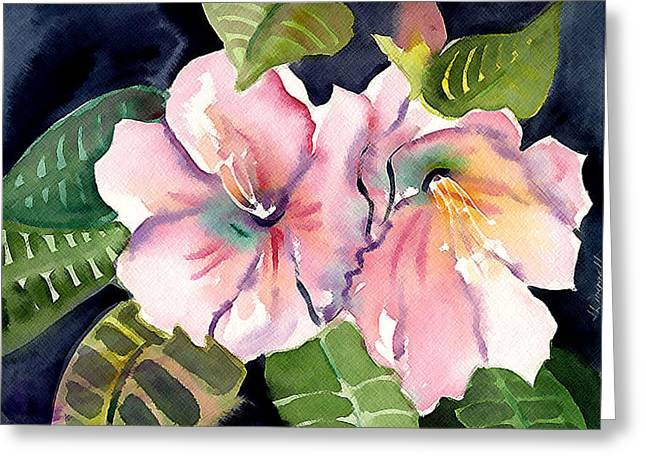 Tropical Flowers Greeting Card by Janet Doggett
