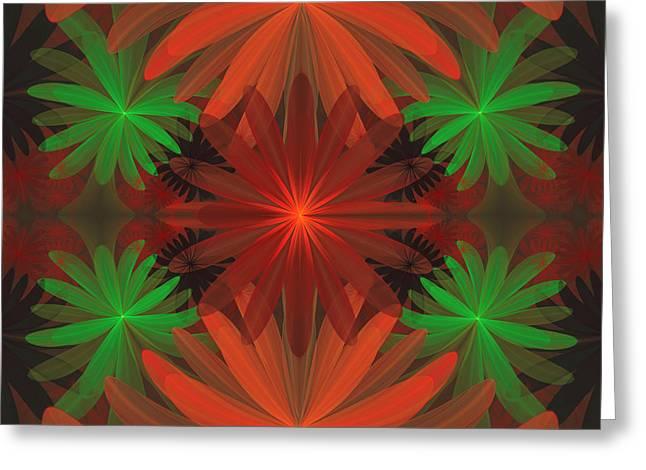 Tropical Flowers Greeting Card by Sandy Keeton