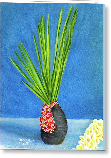 Tropical Flowers Still Life #218 Greeting Card by Donald k Hall