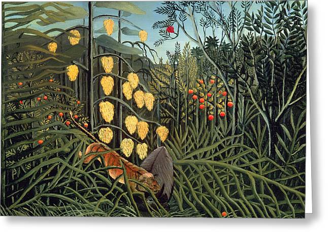 Tropical Forest  Battling Tiger And Buffalo Greeting Card by Henri Rousseau