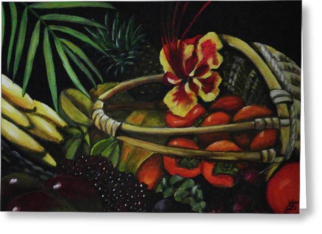 Tropical Fruit Greeting Card by Kim Selig
