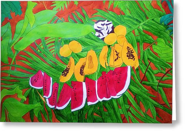 Tropical Fruits Greeting Card by Michaela Bautz