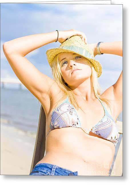 Tropical Island Beach Babe Greeting Card by Jorgo Photography - Wall Art Gallery
