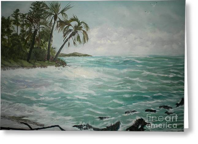 Tropical Island Greeting Card by Hal Newhouser